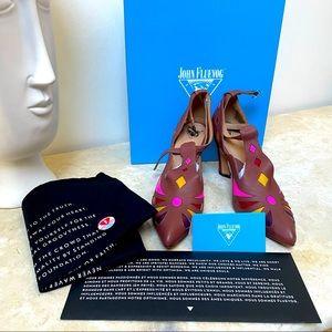 John Fluevog NIB size 10 brown curve Heel shoe